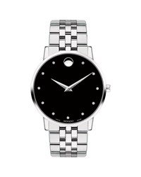 Movado 40Mm Ultra Slim Watch With Bracelet And Black Museum Dial
