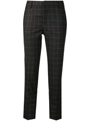 Pt01 Checked Cropped Trousers Grey