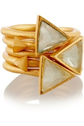 Kevia Set Of Five Gold Plated Chalcedony Rings