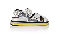Maison Martin Margiela Women's Double Buckle Specchio Leather Platform Sandals Silver