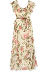 Alice Mccall Salvatore Ruffled Metallic Floral Print Chiffon Maxi Dress Blush