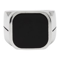 Givenchy Silver And Black Signature Signet Ring