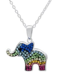 Macy's Multi Crystal Elephant Pendant Necklace In Fine Silver Plated