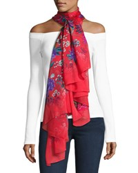 Liberty London Elysian Paradise Floral Silk Scarf Red