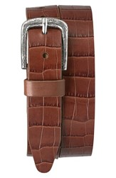 Men's Trask 'Rex' Croc Embossed American Steer Leather Belt Scotch