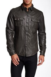 Rogue Leather Split Collar Coat Gray