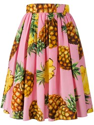 Dolce And Gabbana Pineapple Print Midi Skirt Pink Purple