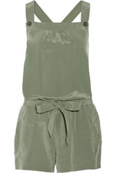 Joie Baltazar Washed Silk Playsuit Army Green