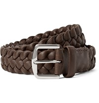 Loro Piana 3.5Cm Brown Woven Leather Belt Chocolate