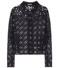 Miu Miu Embroidered Cutout Jacket Blue