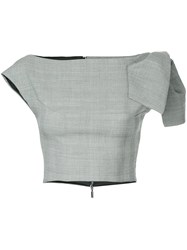 Maticevski Cropped Plaid Top Grey