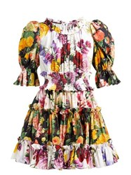 Dolce And Gabbana Ruffled Floral Print Cotton Dress White Multi