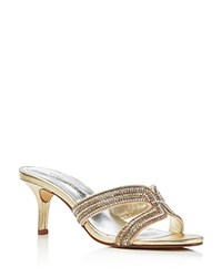 Caparros Cynthia Metallic High Heel Slide Sandals Gold