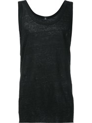 Osklen Scoop Neck Tank Top Men Linen Flax P Black