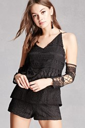 Forever 21 Crochet Knit Top And Shorts Set Black