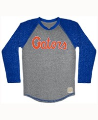 Retro Brand Men's Florida Gators Color Block Long Sleeve T Shirt Gray