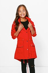 Boohoo Lightweight Faux Fur Hooded Parka Style Coat Red