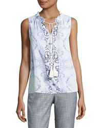 Lord And Taylor Emmy Shell Medallion Paisley Printed Top White
