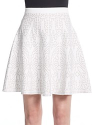 Saks Fifth Avenue Black Printed Fit And Flare Skirt White