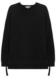 Helmut Lang Black Laddered Cotton Blend Jumper