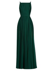 Elie Saab Square Neck Sleeveless Silk Georgette Gown Green