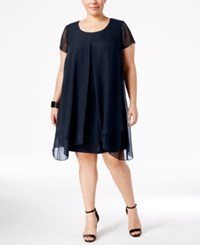 Ny Collection Plus Size Layered Shift Dress Navy