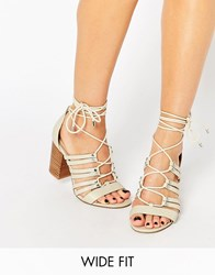 Asos Tia Wide Fit Lace Up Heeled Sandals Off White