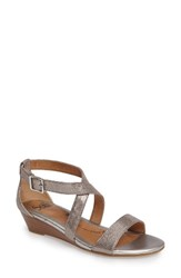 Sofft Women's 'Innis' Low Wedge Sandal Silver Leather