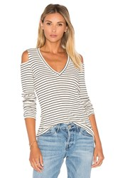 Monrow V Neck Rib Cut Out Long Sleeve Black And White
