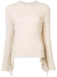 Ryan Roche Cashmere Crew Neck Ruffle Sleeve Jumper Nude And Neutrals