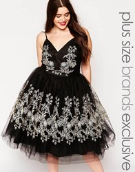 Chi Chi Plus Chi Chi London Plus Heavily Embroidered Cami Tulle Prom Dress Black