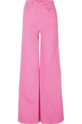 Solace London Nora High Rise Wide Leg Jeans Bright Pink