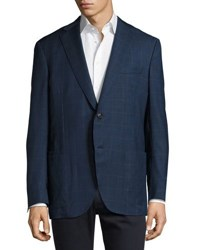 Luciano Barbera Plaid Two Button Wool Jacket Multi