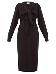 Christophe Lemaire Button Down Wool Blend Cardigan Sweater Dress Black