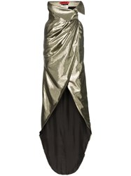 Ronald Van Der Kemp High Waisted Silk Lurex Blend Wrap Skirt Metallic