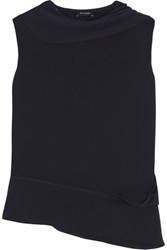 Atlein Draped Cutout Stretch Jersey Top Midnight Blue