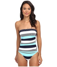 Tommy Bahama Bold Stripe Mini Anchor Shirred Bandeau Cup One Piece Swimming Pool Mare White Women's Swimsuits One Piece Multi