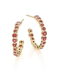 Ippolita Glamazon Stardust Orange Sapphire And 18K Yellow Gold Bezel Set 1 Hoop Earrings 1.65 Gold Orange