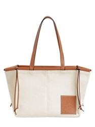 Loewe Cushion Canvas And Leather Tote Bag Light Oat