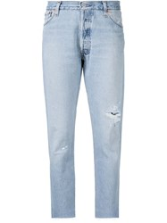 Re Done Distressed Straight Leg Jeans Blue