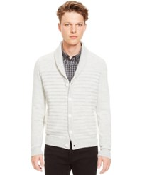 Kenneth Cole Reaction Shawl Collar Striped Cardigan Antique White
