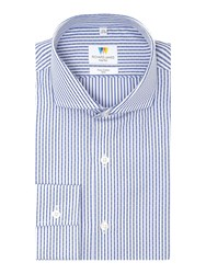 Richard James Men's Mayfair Dash Dobby Stripe Slim Fit Shirt Navy