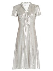 Hvn Morgan Short Sleeved Lame Dress Silver