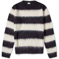 Saint Laurent Mohair Stripe Crew Knit Black