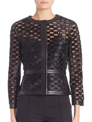 Escada Leather And Calf Hair Windowpane Jacket Black