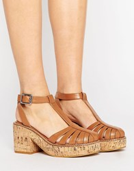 Asos Oasis Cork Platform Shoes Tan Pu