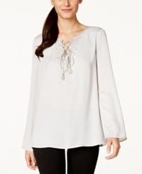 Studio M Lace Up Peasant Blouse