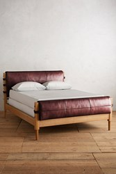 Anthropologie Leather Rhys Bed Wine