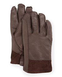Ugg Men's Gibson Leather Gloves Brown
