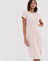 Closet London Short Sleeve Wrap Over Detail Dress In Pale Pink